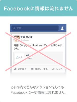 ペアーズのプライバシー配慮「入会登録後Facebookに情報は流れません」