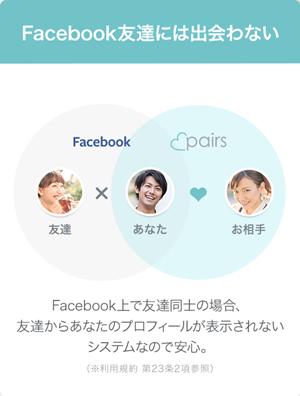 ペアーズのプライバシー配慮「入会登録後Facebook友達には出会わない」