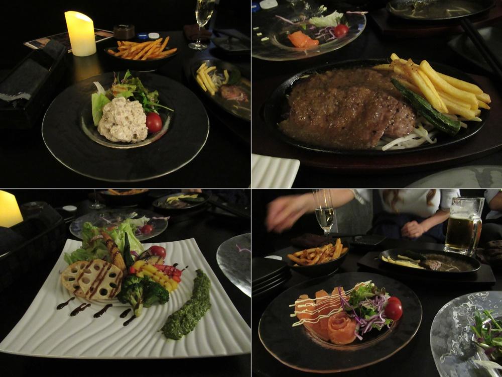 大人のポテトサラダ、サーロインステーキ、野菜のカルパッチョ、サーモンのカルパッチョ