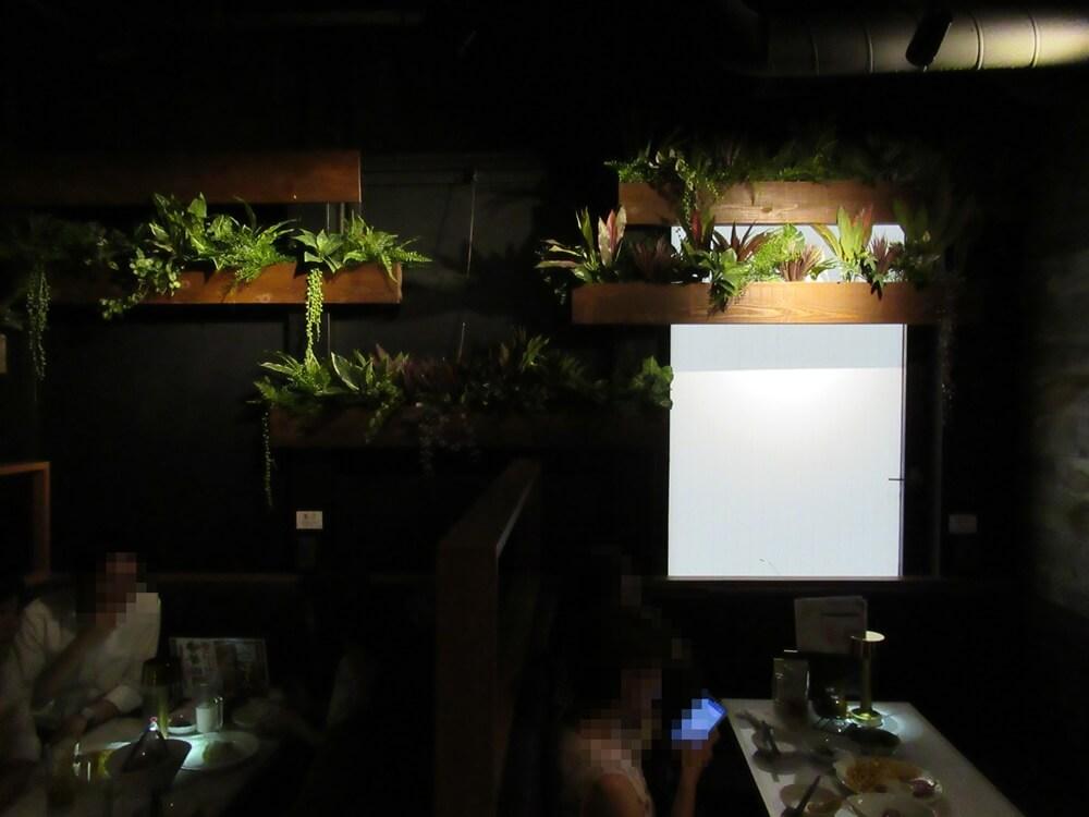 相席屋靖国通り店の席と植物
