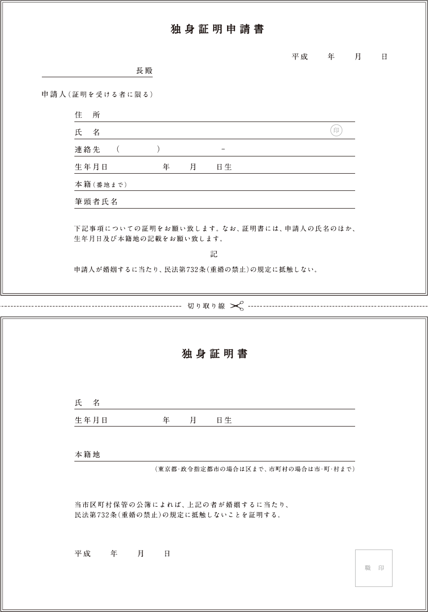 こちらが独身証明書の申請書