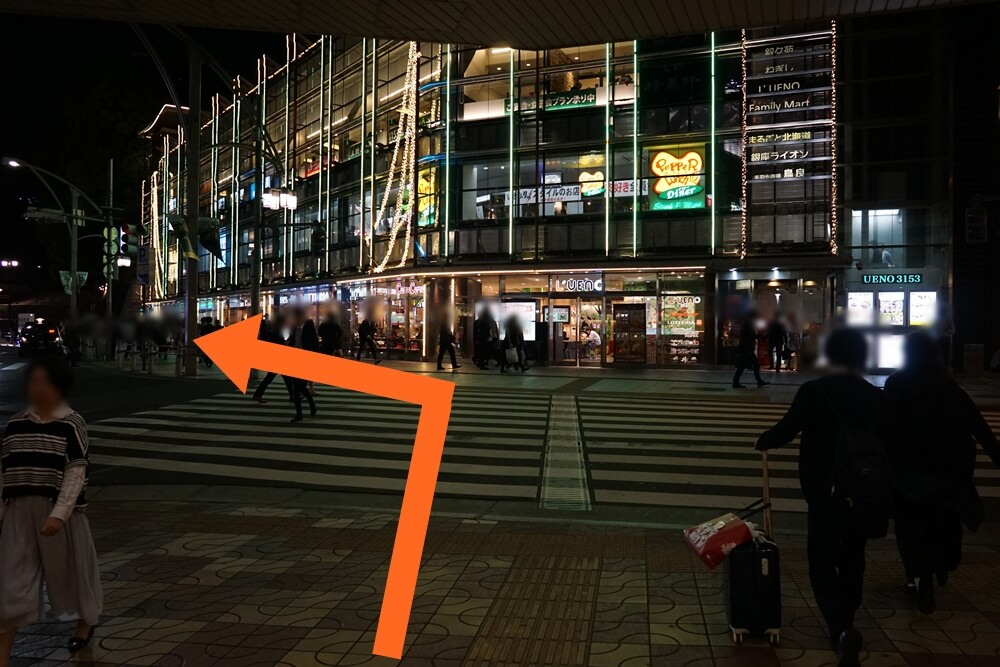 横断歩道を渡って、派手なビルのところを左へ。