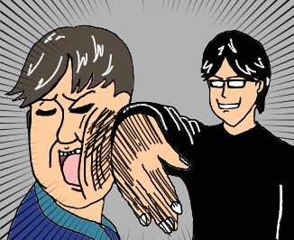 川津を殴るアサヒ