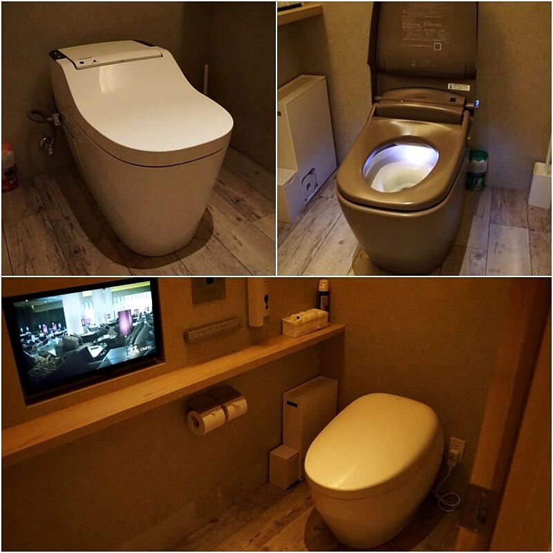 TOTO、LIXILなど、各メーカーの最上位トイレを導入。写真下段のトイレは実にお値段57万円なり。どうかしている!!!